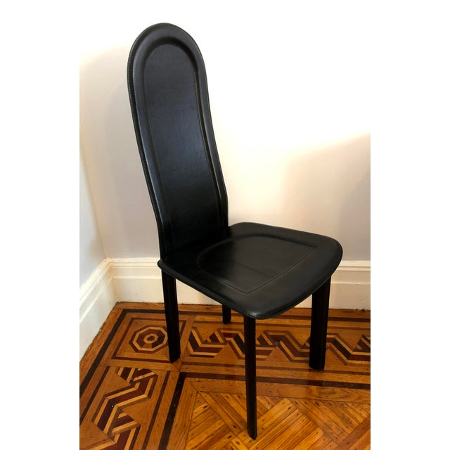 Artedi Modern Black Leather Artedi Chairs - Set of 4 For Sale - Image 4 of 11
