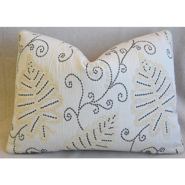 """Wood Scalamandre Embroidered Fern Wood Feather/Down Pillow 22"""" X 16"""" For Sale - Image 7 of 8"""
