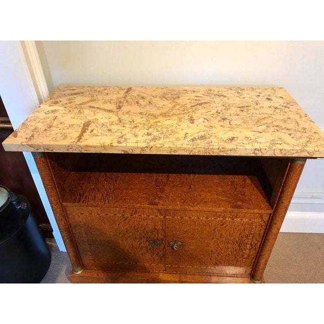 French Sienna Marble and Burlwood Bar or Sideboard For Sale In Atlanta - Image 6 of 13