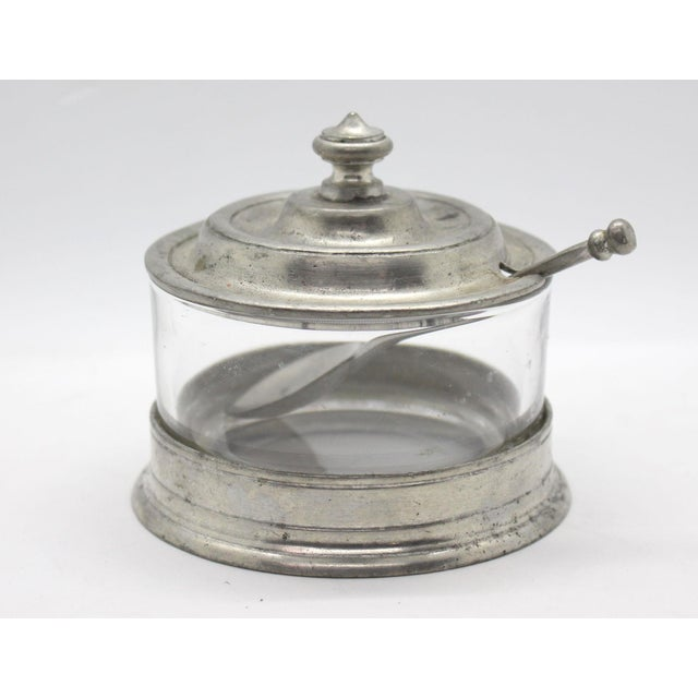 Match Italian Pewter & Glass Jam or Sugar Jar With Spoon For Sale In Los Angeles - Image 6 of 6