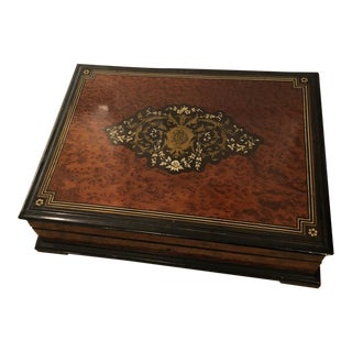 Antique Napoleon III Burl Walnut & Ebony Jewelry Box W Rosewood Interior For Sale