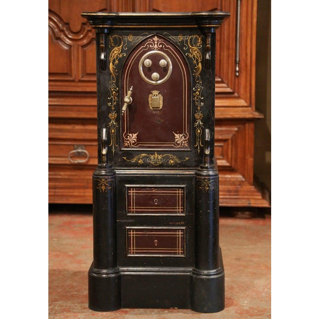 19th Century Spanish Hand Painted Iron Safe With Keys and Locking Combination For Sale - Image 11 of 11