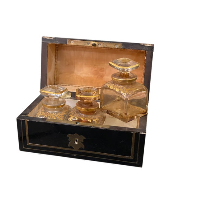 19th Century Perfume Box With Three Gilt Painted Perfume Bottles - 4 Pieces For Sale - Image 5 of 10