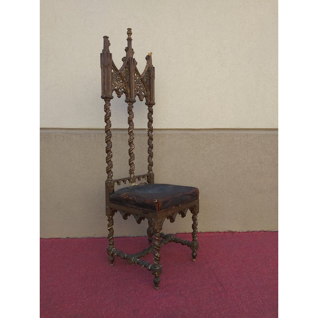 Gothic Period Renaissance 16th Century Gothic High Back Chair For Sale - Image 3 of 12