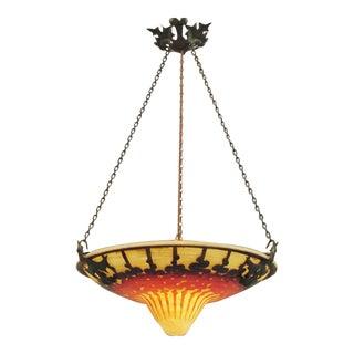 Spectacular French Art Deco Le Verre Francais Lighting Bowl, Mirettes Pattern For Sale