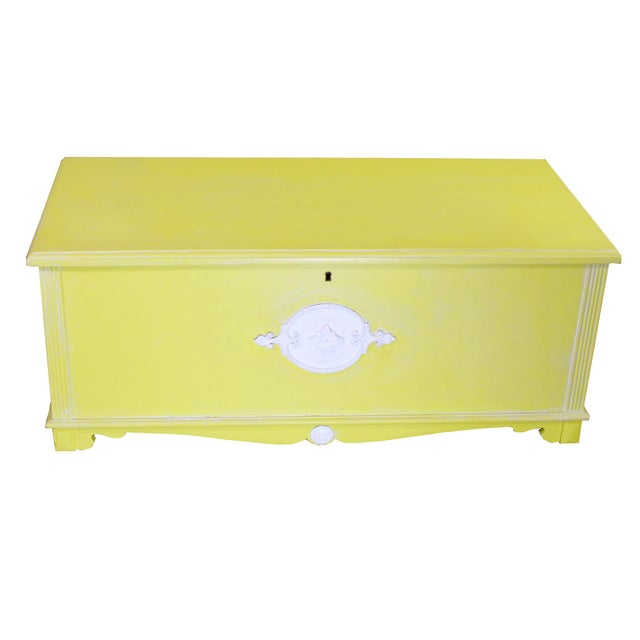 Canary Yellow Whitewashed Citron Painted Antique Red Cedar Chest by Gregory Furniture Mfg. For Sale - Image 8 of 8