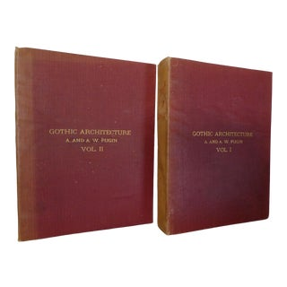 Early 20th Century Decorative & Illustrated Books, Pugin's Gothic Architecture - 2 Volume Set For Sale