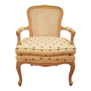 1990s French Ethan Allen Walnut and Cane Back Accent Chair For Sale