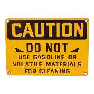 "1930's American Factory Porcelain ""Caution"" Sign"