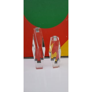 1970s Charles Hollis Jones Diamond Lucite Candle Holders - a Pair Preview