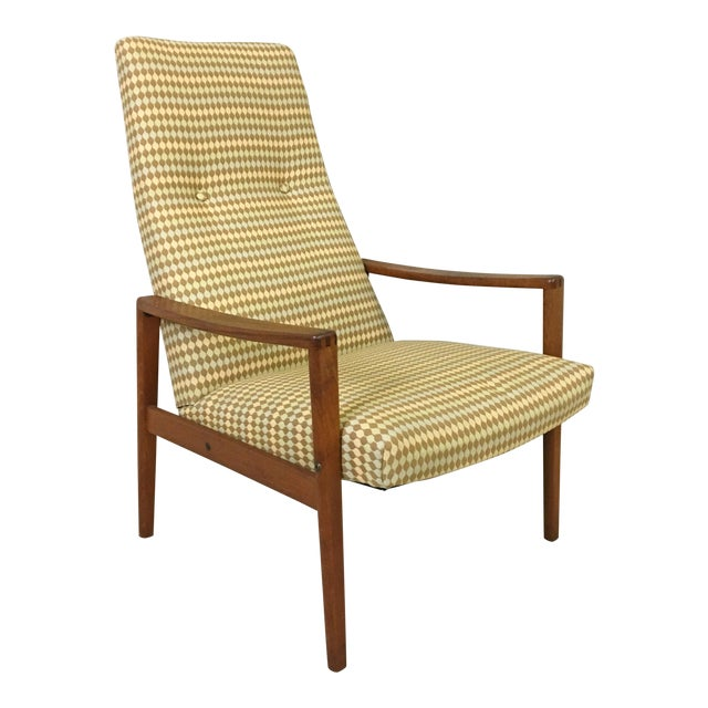 Ulferts Upholstered Lounge Chair With Teak Frame For Sale