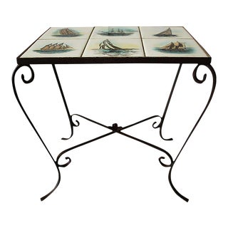 Vintage Mid Century Wrought Iron Side Table With Sailboat Tiles For Sale