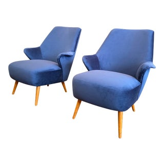 1950s Vintage Gio Ponti Style Midcentury Armchairs- a Pair For Sale
