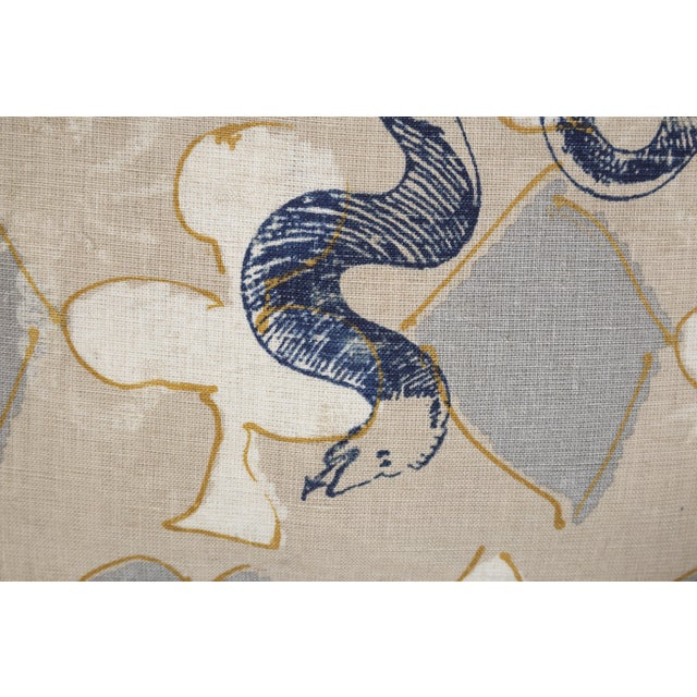 Abstract Linen Serpent Abstract Pillows, a Pair For Sale - Image 3 of 6