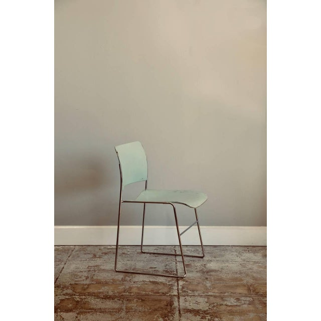Great set of six teal and chrome David Rowland 40/4 stacking chairs. The nicest set of 6 we've seen. Amazing light teal...