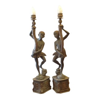 1970s Life-Size Nubian Bronze Torcheres - a Pair For Sale