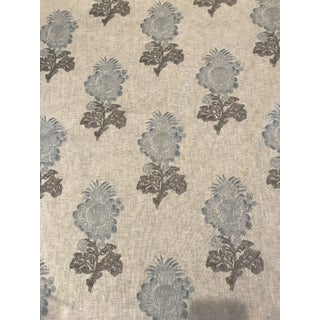 "Thibaut ""Aldith"" French Provincial Flower Antique Block Print Linen Fabric 10 Continuous Yards For Sale"