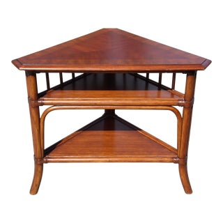 Ethan Allen Fiji Bamboo Bentwood Triangular Corner Table Console Sofa Table For Sale
