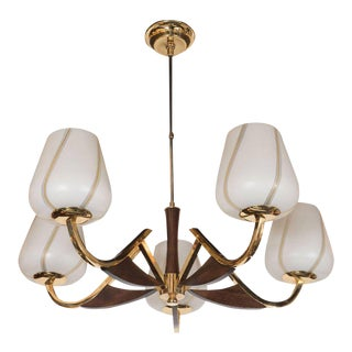 Organic Mid-Century Modernist Chandelier in Brass, Walnut and Frosted Glass For Sale