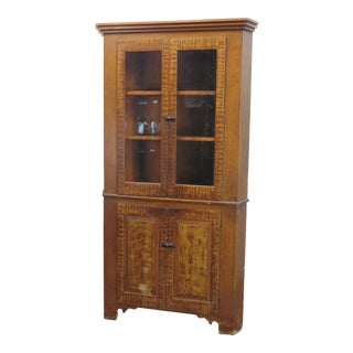19th Century Faux Tiger Maple Grain Painted Corner Cabinet For Sale