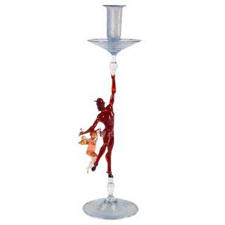 Figural Art Glass Candlestick by Lucio Bubacco For Sale