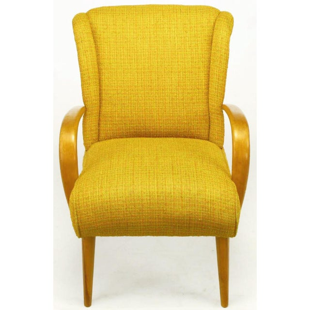 Mid-Century Modern Circa 1940s Maple Wood & Saffron Upholstered Lounge Chair For Sale - Image 3 of 10