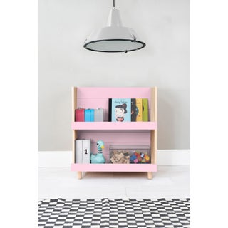 "Minimo Modern Kids 31"" Bookcase in Birch With Pink Finish Preview"