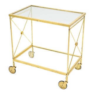 French Neoclassical Maison Jansen Gilded Iron Bar Cart 1960s For Sale
