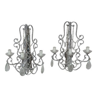 Pair of Silver 3-Light Beaded Mirror Back Sconces For Sale