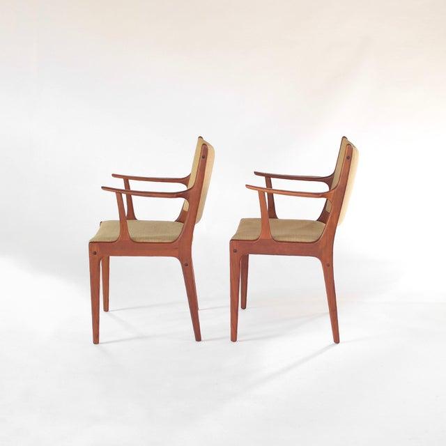 Danish Modern Mid Century Danish Modern Johannes Andersen for Uldum Møbelfabrik Dining Chairs- A Pair For Sale - Image 3 of 11