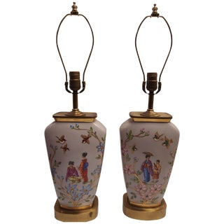 Japanese-Inspired French Porcelain Lamps - A Pair For Sale