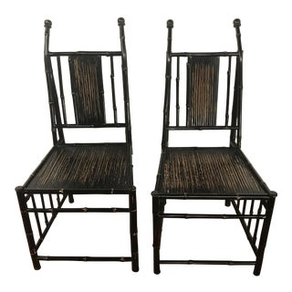 Mid Century Faux Bamboo Chairs - A Pair