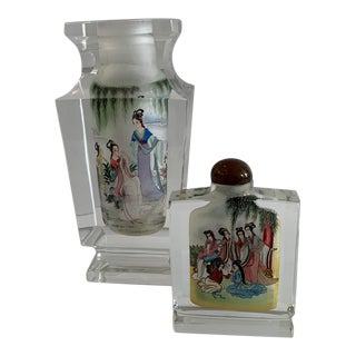 1980s Japanese Reverse Painted Vase and Snuff Bottle For Sale