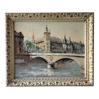Paris River Scene Signed Oil Paining on Canvas