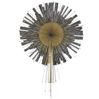 Late 20th Century Vintage Curtis Jere Aluminum & Brass Wall Hanging Starburst For Sale
