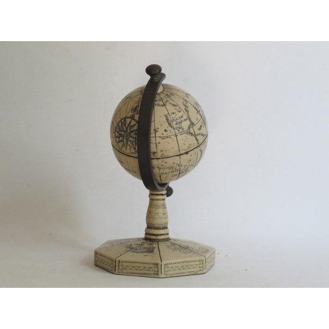 Faux Ivory Carved Resin Desk Globe - Image 3 of 5