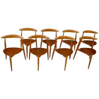 Set of Eight Danish Modern Heart Chairs in Teak and Beech by Hans Wegner For Sale