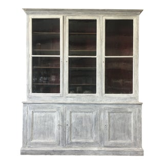 19th Century Antique French Three Door Painted Bookcase For Sale