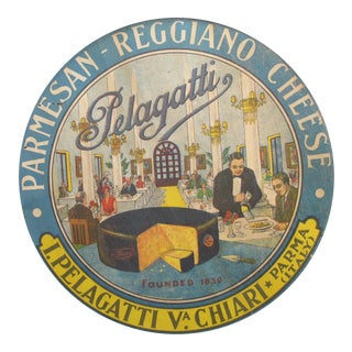 1930s Vintage Italian Parmesan Cheese Label, Pelagatti (framed) For Sale