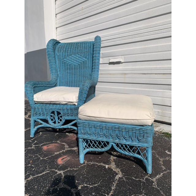 Vintage Polo Ralph Lauren Wicker Chair and Ottoman For Sale - Image 10 of 13