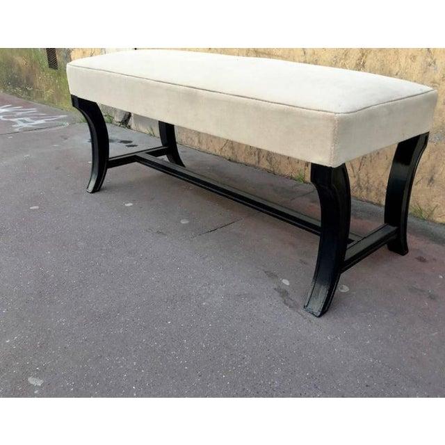 Maison Jansen Chicest Black Neoclassic Long Bench Newly Covered in Velvet.
