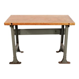 1940s Industrial Chic Steel & Butcher Block Table For Sale
