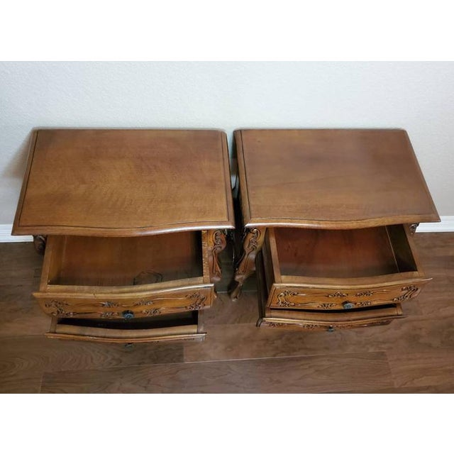 Brown Italian Louis XV Style Carved Walnut Bedside Tables - a Pair For Sale - Image 8 of 11