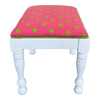 1960s Vintage Small Refinished Footstool For Sale