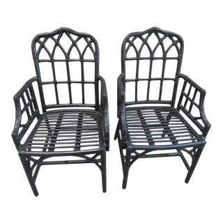 McGuire Style Cathedral Arm Chairs - a Pair For Sale