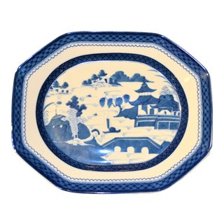 Large Mottahedeh Blue Canton Chinese Import Platter