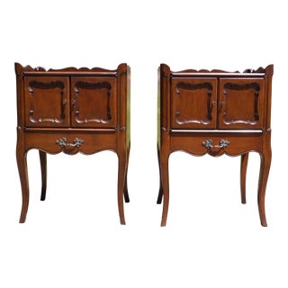 Vintage French Provincial Style Walnut End Tables Nightstands - a Pair For Sale