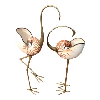 Vintage Binazzi Swan & Flamingo With Nautilus - a Pair For Sale