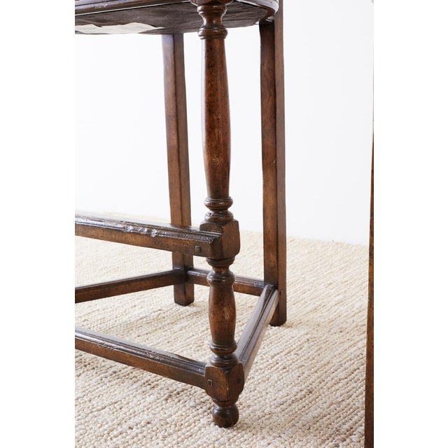 Pair of Dennis Leen Walnut and Leather Bar Stools For Sale - Image 11 of 13