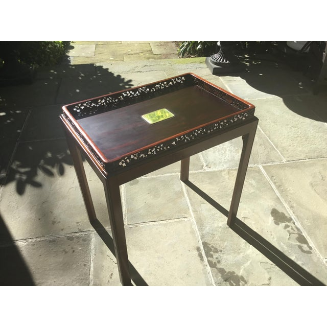 Asian Chinoiserie Chippendale Rosewood Tray Table For Sale - Image 3 of 12